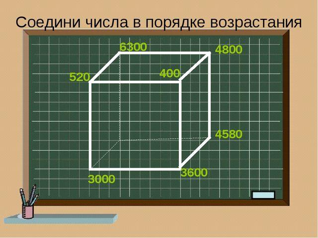 Соедини числа в порядке возрастания 400 520 3000 3600 4580 4800 6300