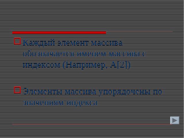 Каждый элемент массива обозначается именем массива с индексом (Например, A[2]...