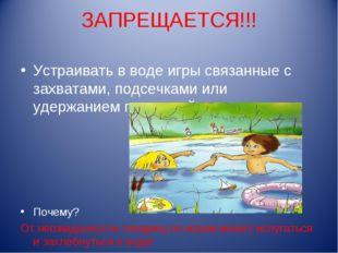 ЗАПРЕЩАЕТСЯ!!! Устраивать в воде игры связанные с захватами, подсечками или у