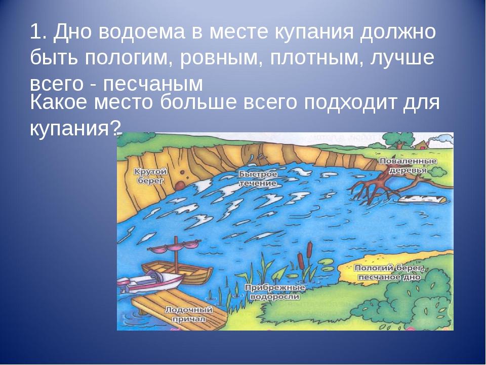 1. Дно водоема в месте купания должно быть пологим, ровным, плотным, лучше вс...