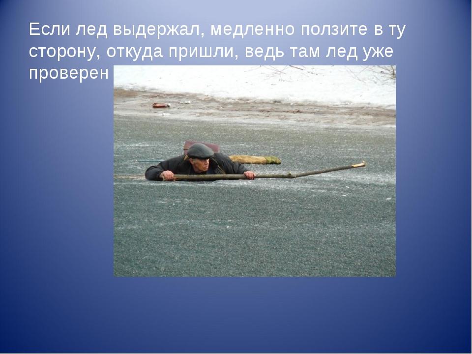 Если лед выдержал, медленно ползите в ту сторону, откуда пришли, ведь там лед...