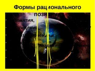Формы рационального познания 1.Понятия, 2. Суждения, 3.Умозаключения, 4. Зако