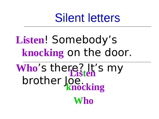 Silent letters Listen! Somebody's knocking on the door. Who's there? It's my...