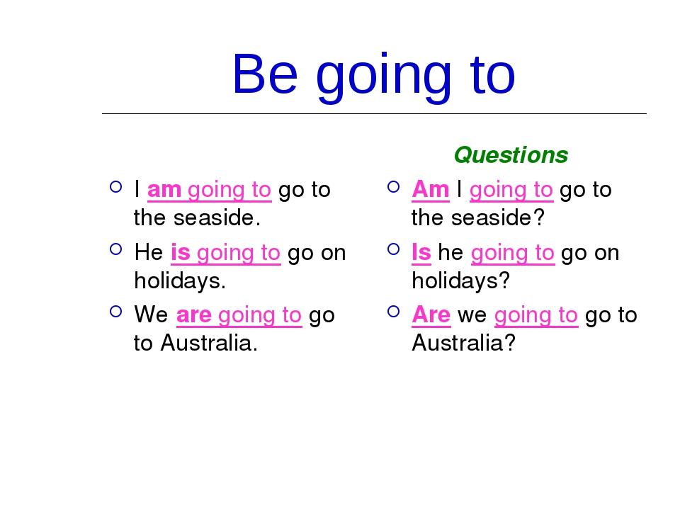 Be going to I am going to go to the seaside. He is going to go on holidays. W...
