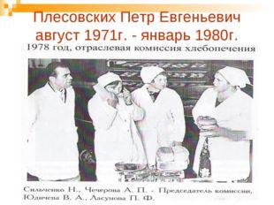 Плесовских Петр Евгеньевич август 1971г. - январь 1980г.