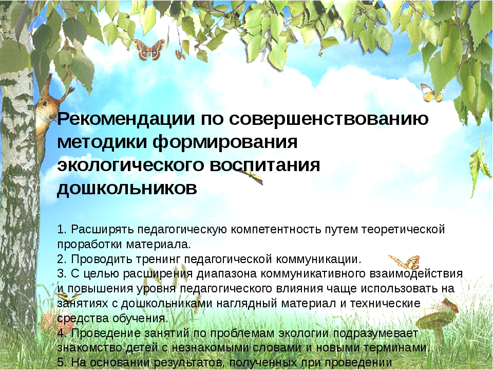 Рекомендации по совершенствованию методики формирования экологического воспит...
