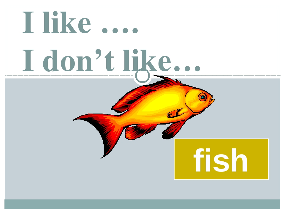 I like …. I don't like… fish