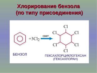 Хлорирование бензола (по типу присоединения)
