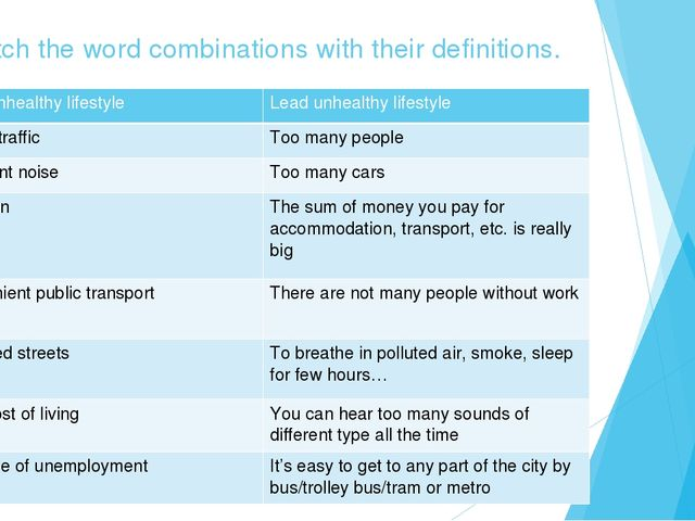 Match the word combinations with their definitions. Lead unhealthy lifestyle...