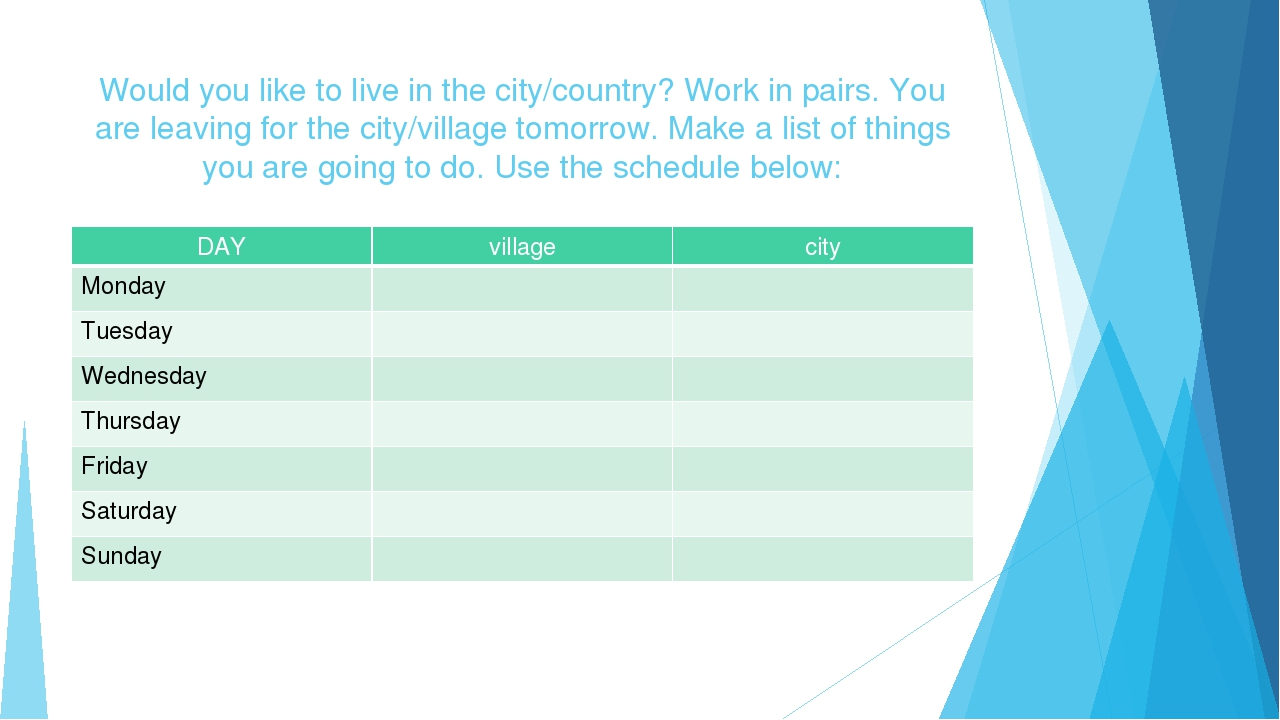 Would you like to live in the city/country? Work in pairs. You are leaving fo...