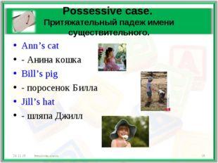 Possessive case. Притяжательный падеж имени существительного. Ann's cat - Ани