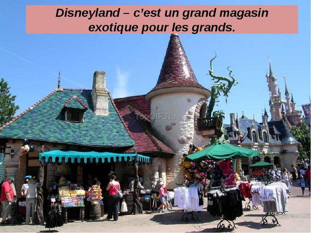 Disneyland – c'est un grand magasin exotique pour les grands.