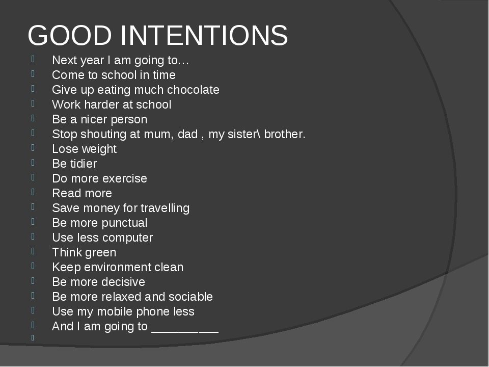 GOOD INTENTIONS Next year I am going to… Come to school in time Give up eatin...