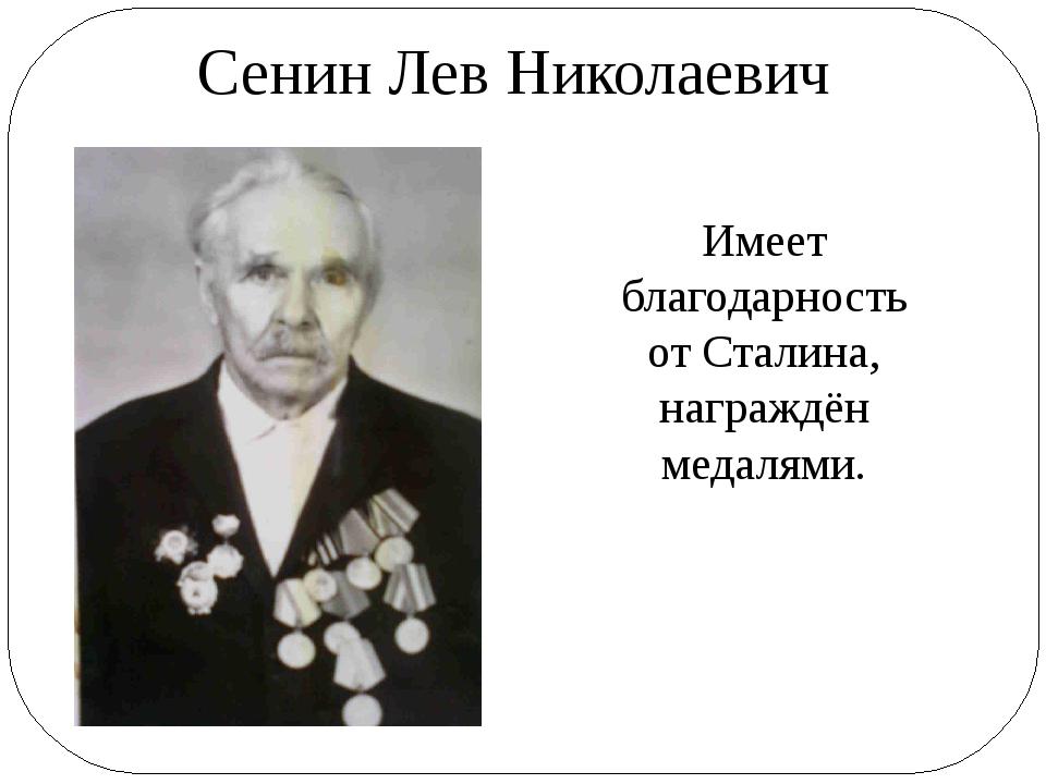 Сенин Лев Николаевич Имеет благодарность от Сталина, награждён медалями.