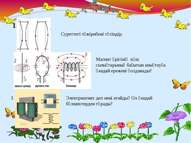 1. Суреттегі тәжірибені түсіндір. Магнит өрісінің күш сызықтарының бағытын ан...