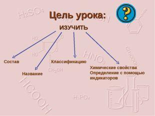 Цель урока: ИЗУЧИТЬ Состав Название Классификацию Химические свойства Определ