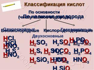Классификация кислот По основности (числу атомов водорода) Одноосновные Двухо