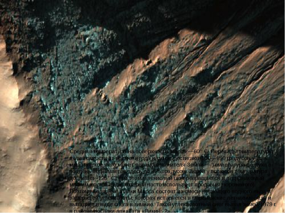 Средняя температура на поверхности Марса —60° С. Перепады температуры, в зави...