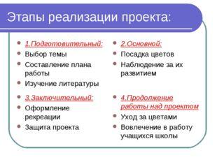 Этапы реализации проекта: 1.Подготовительный: Выбор темы Составление плана ра