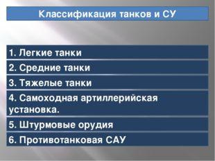 Классификация танков и СУ 1. Легкие танки 2. Средние танки 3. Тяжелые танки 4