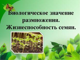 """Биологическое значение размножения. Жизнеспособность семян. МОУ """"СОШ №2"""" г. Ч"""