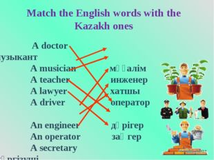 Match the English words with the Kazakh ones A doctor музыкант A musician мұғ