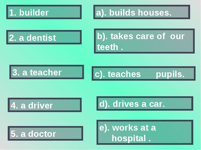 2. a dentist 5. a doctor 3. a teacher 1. builder 4. a driver a). builds house...