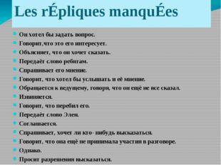 Les rÉpliques manquÉes Он хотел бы задать вопрос. Говорит,что это его интерес