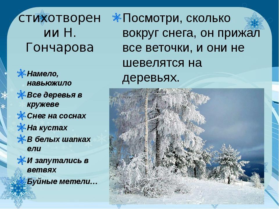 стихотворении Н. Гончарова Посмотри, сколько вокруг снега, он прижал все вето...