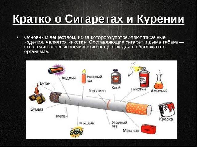 Кратко о Сигаретах и Курении Основным веществом, из-за которого употребляют т...