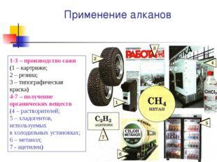 Применение алканов 1-3 – производство сажи (1 – картрижи; 2 – резина; 3 – тип