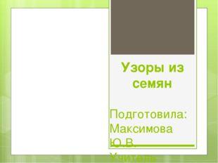 Узоры из семян Подготовила: Максимова Ю.В. Учитель начальных классов. МБОУ г.