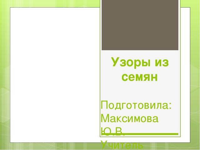 Узоры из семян Подготовила: Максимова Ю.В. Учитель начальных классов. МБОУ г....