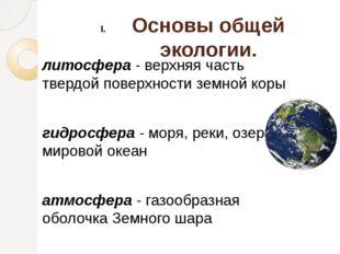 Основы общей экологии. литосфера - верхняя часть твердой поверхности земной к