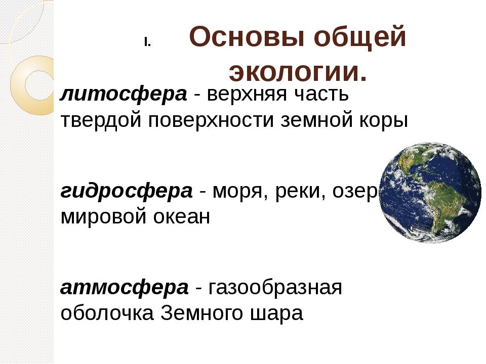 Основы общей экологии. литосфера - верхняя часть твердой поверхности земной к...