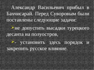 Александр Васильевич прибыл в Бахчисарай. Перед Суворовым были поставлены сле