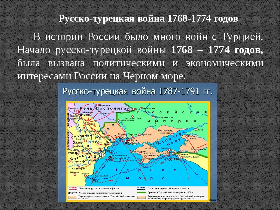 Русско-турецкая война 1768-1774 годов В истории России было много войн с Турц...