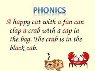 A happy cat with a fan can clap a crab with a cap in the bag. The crab is in