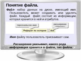 Понятие файла. Имя файлу пользователь присваивает сам. Расширение указывает,