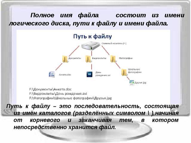Полное имя файла состоит из имени логического диска, пути к файлу и имени ф...