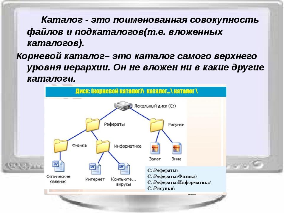 Каталог - это поименованная совокупность файлов и подкаталогов(т.е. вложенн...