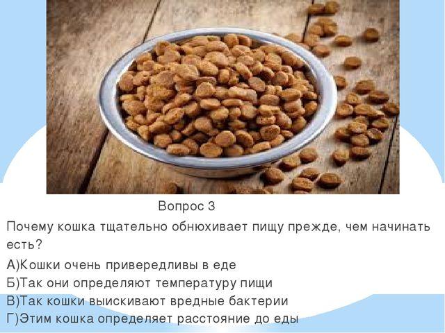 Вопрос 3 Почему кошка тщательно обнюхивает пищу прежде, чем начинать есть? А...