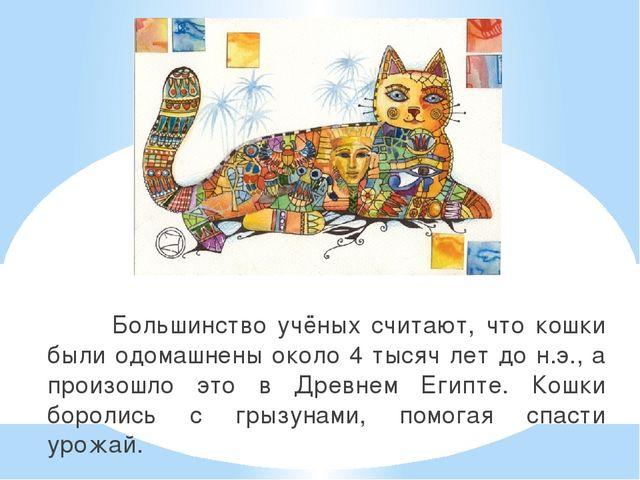 Большинство учёных считают, что кошки были одомашнены около 4 тысяч лет до н...