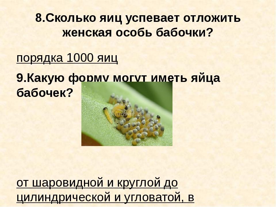 8.Сколько яиц успевает отложить женская особь бабочки? порядка 1000 яиц 9.Как...