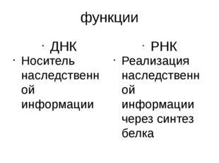 функции ДНК Носитель наследственной информации РНК Реализация наследственной