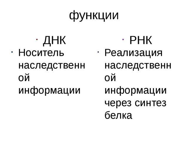 функции ДНК Носитель наследственной информации РНК Реализация наследственной...