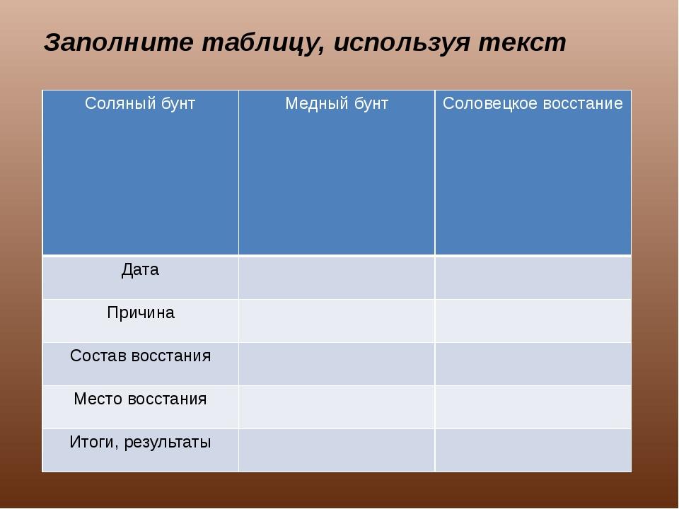 Заполните таблицу, используя текст Соляный бунт Медный бунт Соловецкоевосстан...
