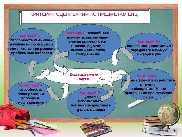 Естественные науки Критерий B - способность понимать и передавать научную ин...
