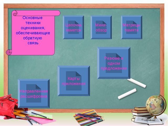 Основные техники оценивания, обеспечивающие обратную связь Мини- обзор Матриц...