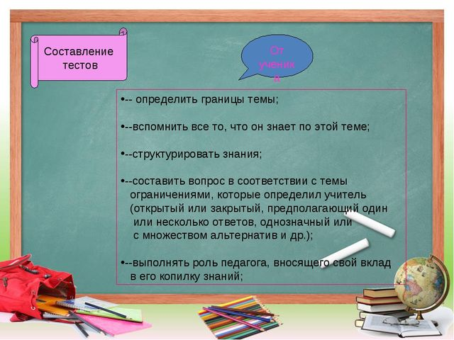 Составление тестов От ученика -- определить границы темы; --вспомнить все то,...